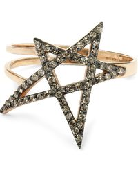 Kismet by Milka - Rose Gold Small Doodle Star Champagne Diamond Ring - Lyst