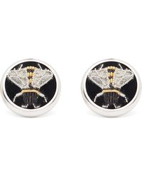 Deakin & Francis Sterling Silver Embroidered Bee Cufflinks - Metallic