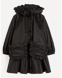 Enfold Memory Twill Frill Jacket - Black