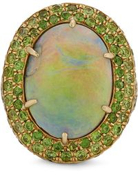 Kojis - Gold Black Opal And Demantoid Garnet Cluster Ring - Lyst