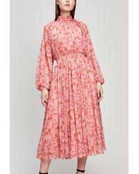 byTiMo High Neck Chiffon Midi Dress - Pink