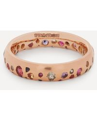 Polly Wales Rose Gold Rainbow Sapphire Confetti Ring - Multicolour