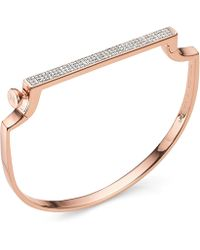 Monica Vinader - Rose Gold Vermeil Signature Thin Diamond Bangle - Lyst