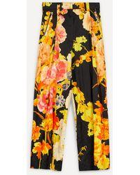 Dries Van Noten High-waisted Wide Leg Floral Trousers - Black