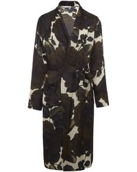 Dries Van Noten Hibiscus Print Robe - Black