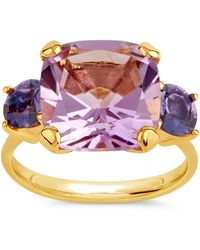 Dinny Hall Gold Plated Vermeil Silver Teresa Amethyst And Iolite Ring - Metallic