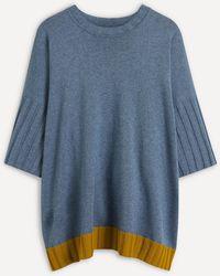 Eskandar Silk-cashmere Blend Poncho - Blue