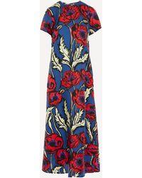 LaDoubleJ Swing Big Blooms Silk Crepe De Chine Dress - Blue