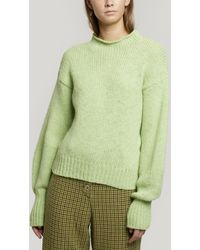 Paloma Wool Noche Perkins High-neck Alpaca-blend Sweater - Green