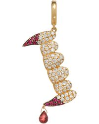 Annoushka X The Vampire's Wife 18ct Gold 'release The Bats' Diamond And Ruby Charm - Metallic