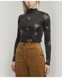 ALEXACHUNG Floral Funnel-neck Top - Black