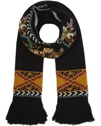 Etro Floral Knitted Fringed Scarf - Black