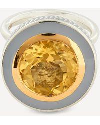 Alice Cicolini Silver Tile Round Citrine Ring - Metallic