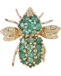 Kojis Gold Emerald Bee Brooch - Metallic