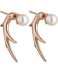 Shaun Leane Rose Gold Vermeil Cherry Blossom Pearl Talon Earrings - Metallic