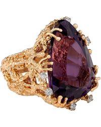 Kojis Gold Amethyst And Diamond Dress Ring - Metallic