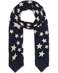 Lily and Lionel Appliqué Velvet Moon And Star Wool-blend Scarf - Blue
