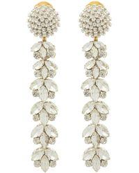 Oscar de la Renta Tiered Crystal Clip-on Drop Earrings - Metallic