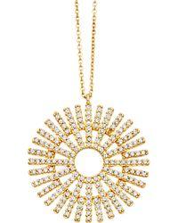 Astley Clarke Gold Large Rising Sun Diamond Pendant Necklace - Metallic
