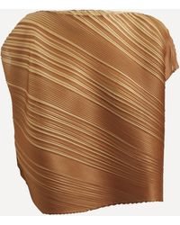 Pleats Please Issey Miyake Spring Bounce Two-tone Top - Brown
