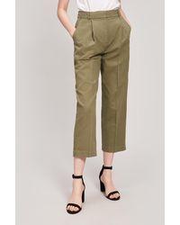 YMC Market Linen And Cotton-blend Trousers - Green