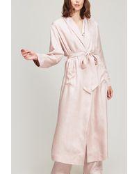 Liberty Hera Silk Jacquard Long Robe - Pink