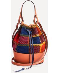 Loewe Balloon Tartan Leather Bucket Bag - Red