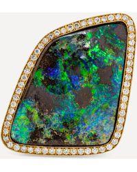 Kojis Gold Black Boulder Opal And Diamond Ring - Metallic
