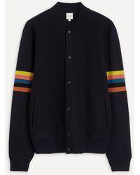 Paul Smith Arm Stripe Merino Wool Knit Bomber Jacket - Blue