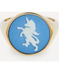 Ferian Gold Wedgwood Unicorn Round Signet Ring - Blue
