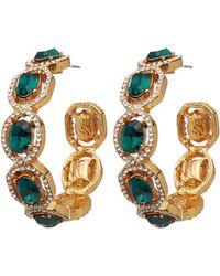 Oscar de la Renta Gold-tone Runway Crystal Hoop Earrings - Metallic