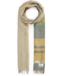 Oliver Spencer Blown Out Faded Check Linen Scarf - Green