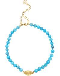 Oscar de la Renta Beaded Shell Pendant Necklace - Blue