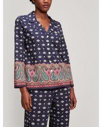 Liberty Persia Tana Lawn Cotton Long Pyjama Set - Blue