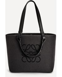 Loewe Small Anagram Jacquard Canvas And Leather Tote Bag - Black
