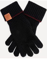 Loewe Knitted Wool Gloves - Black