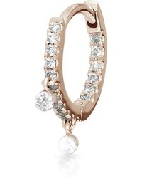 "Maria Tash 5/16"" Diamond Double Charm Front-facing Eternity Hoop Earring - Multicolour"