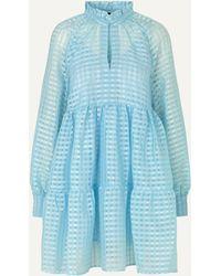 Stine Goya Jasmine Gingham Tiered Midi Dress - Blue