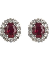 Kojis White Gold Ruby And Diamond Cluster Stud Earrings - Multicolour