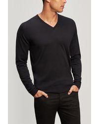 John Smedley Blenheim V-neck Merino Wool Sweater - Black
