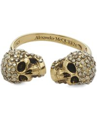 Alexander McQueen Gold-tone Crystal Twin Skull Ring - Metallic