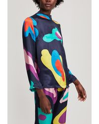 Mira Mikati Cupro Abstract Print Long Sleeve Top - Blue