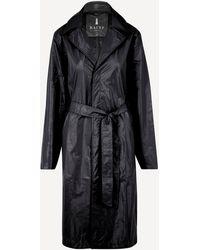Rains City Belted Shiny Overcoat - Black