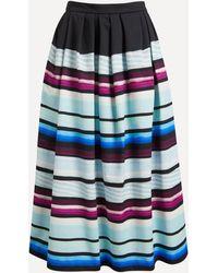 Dries Van Noten Striped Cotton Full Skirt - Blue