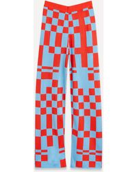 Paloma Wool Puerto Check Jacquard Knit Trousers - Red