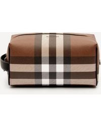 Burberry E-canvas Check Travel Pouch - Brown