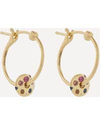 Polly Wales 18ct Gold Mini Rainbow Sapphire Spinner Hoop Earrings - Metallic