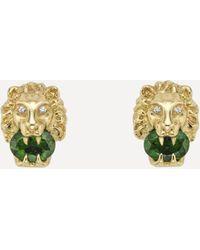 Gucci Gold Chrome Diopside And Diamond Lion Head Stud Earrings - Metallic