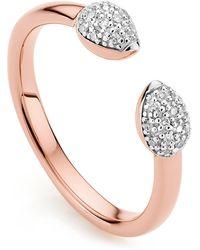 Monica Vinader Rose Gold Plated Vermeil Silver Fiji Bud Diamond Stacking Ring - Metallic