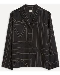 Totême Monogram Silk Pyjama Shirt - Black